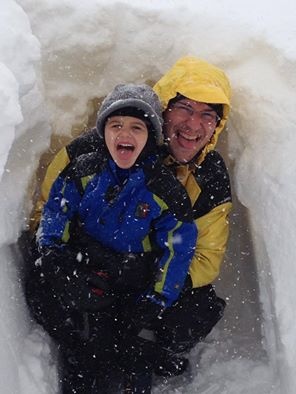 "Son and Father Find ""Fun"" in the Storm"