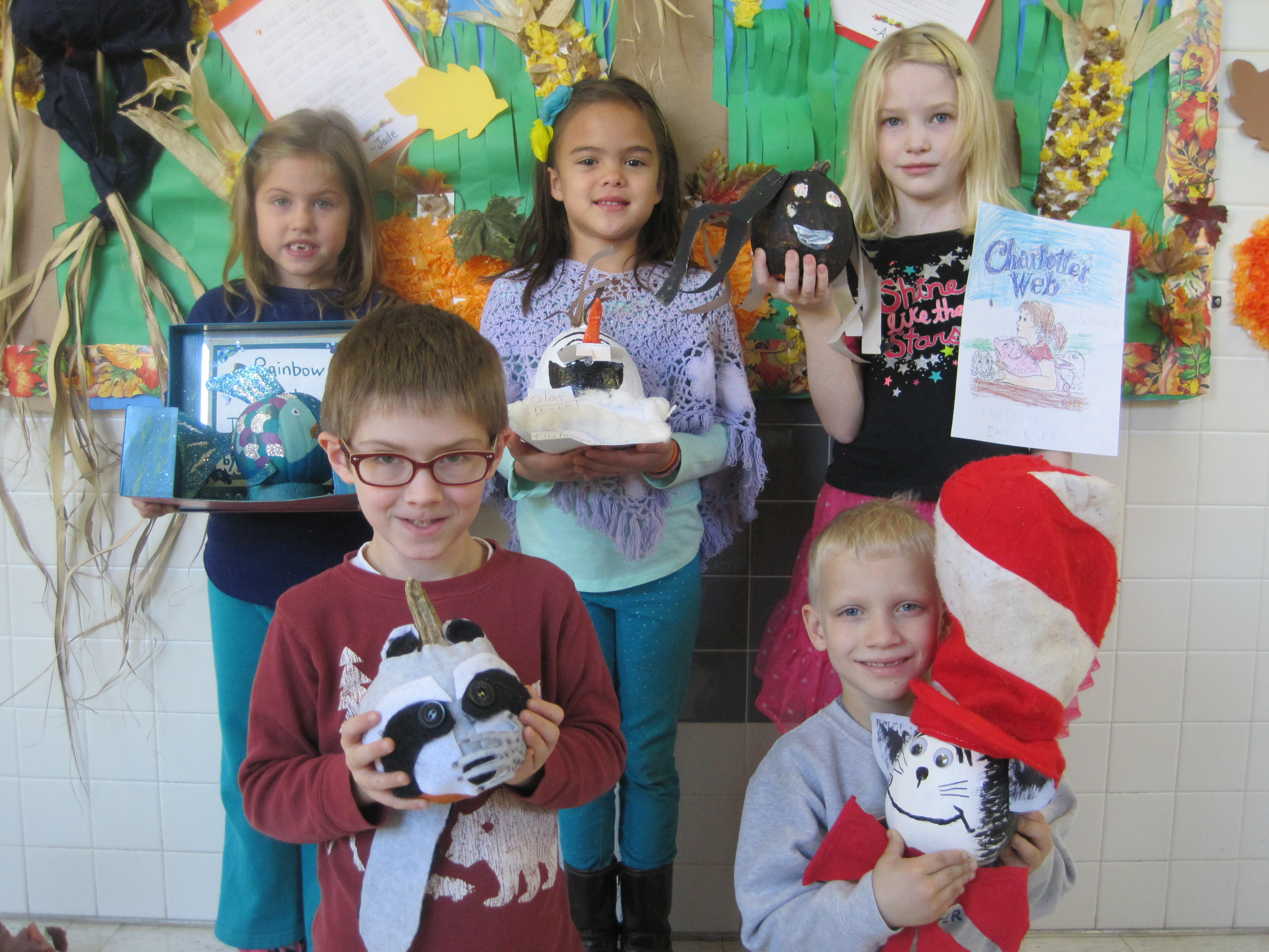 Primary School Students Decorate Pumpkins