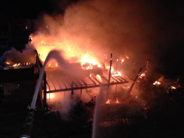Barn burns in Corfu Thursday Morning