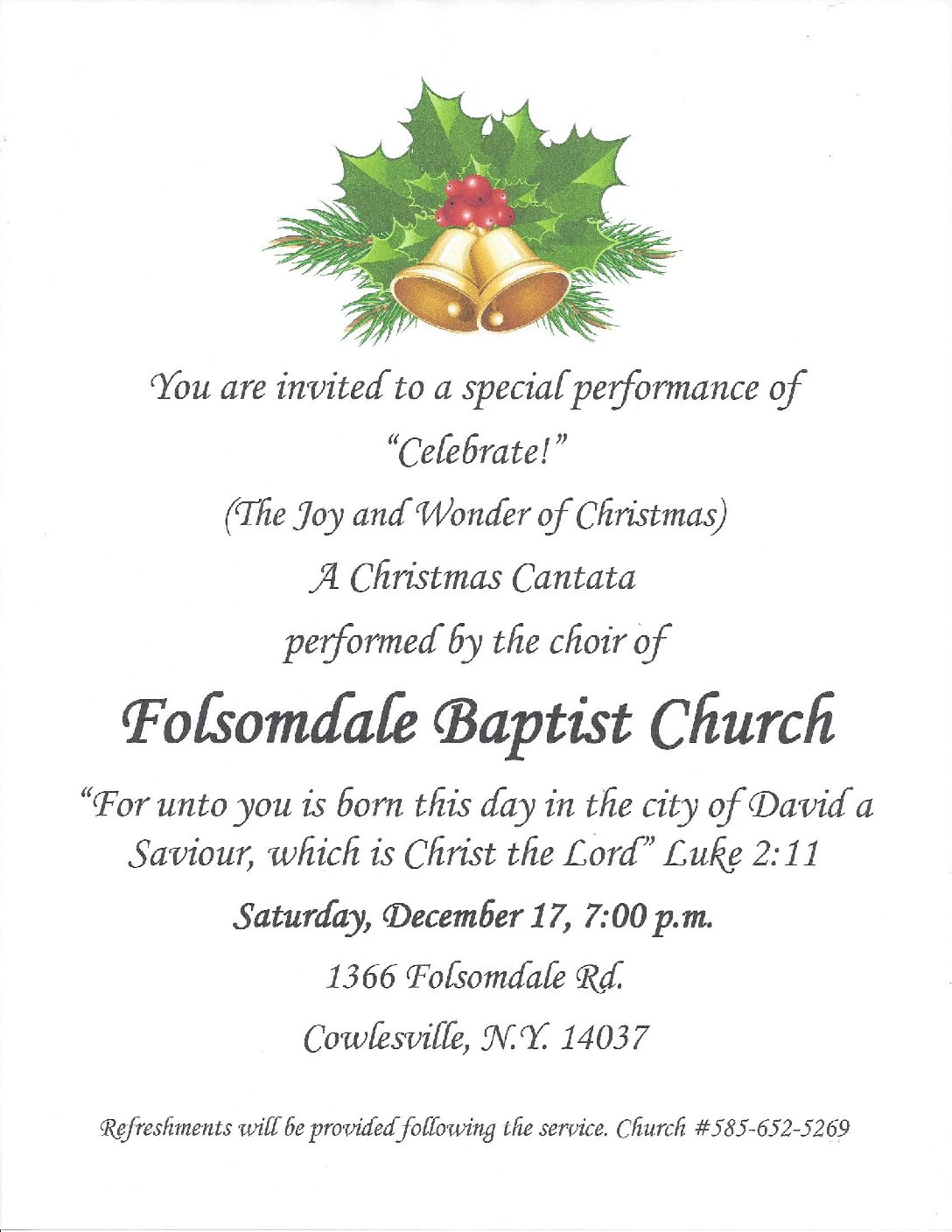 Concert at Folsomdale Baptist Church