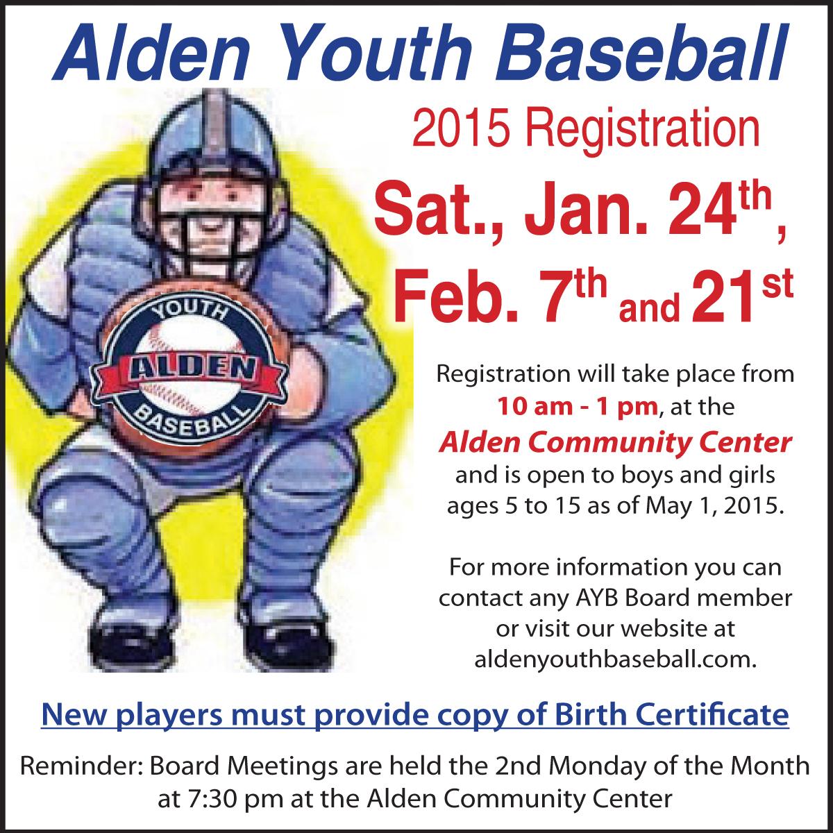 Alden Youth Baseball Registration