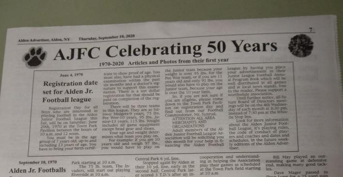 Sept. 10th Alden Advertiser: AJFC Celebrates 50 Years